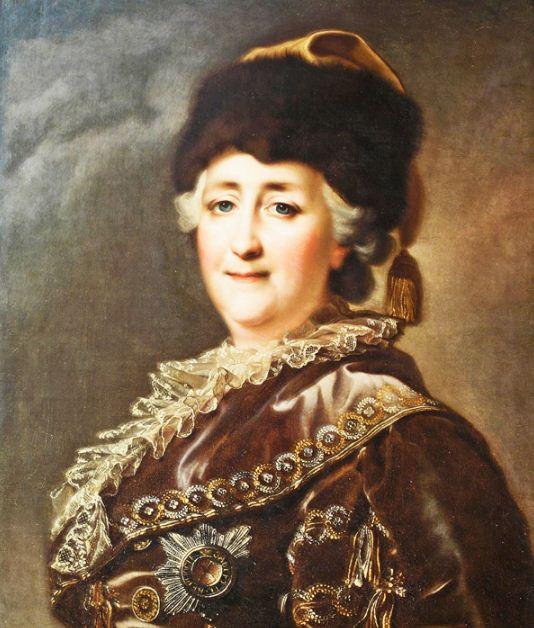 Камерный портрет Екатерины II в дорожном костюме. Конец XVIII века.