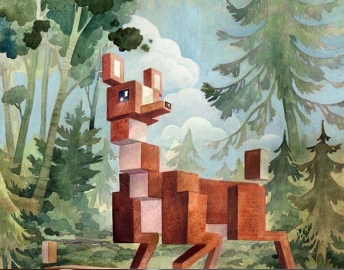Красочные постеры выполнены в технике пиксель - арт