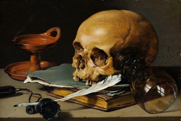 """Питер Клас """" Натюрморт с черепом""""."""