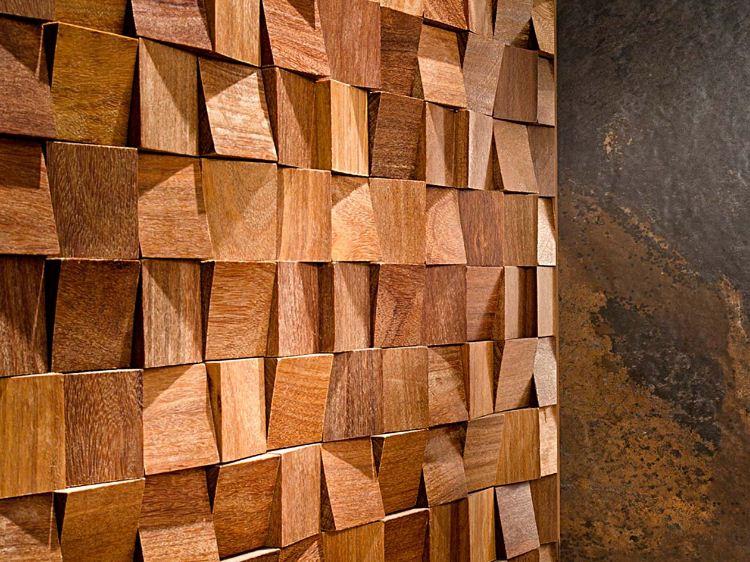 Пример блочной мозаики в отделке стены