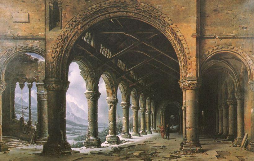 """Луи Дагер """" Туман и снег, видимые сквозь разрушенную готическую колоннаду"""" ( 1826 год)."""