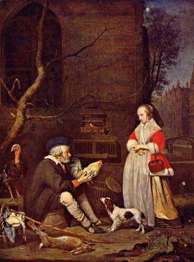 """Габриель Метсю """" Продавец птиц"""" ( 1662 год)."""