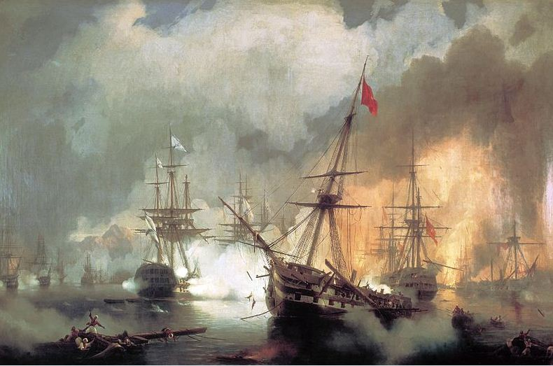 Сражение в Наваринской бухте в октябре 1827 года.