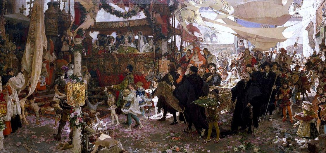 """Франциско Прадилья """" Крещение принца Хуана, сына Фердининда и Изабеллы"""" ( 1910 год)."""