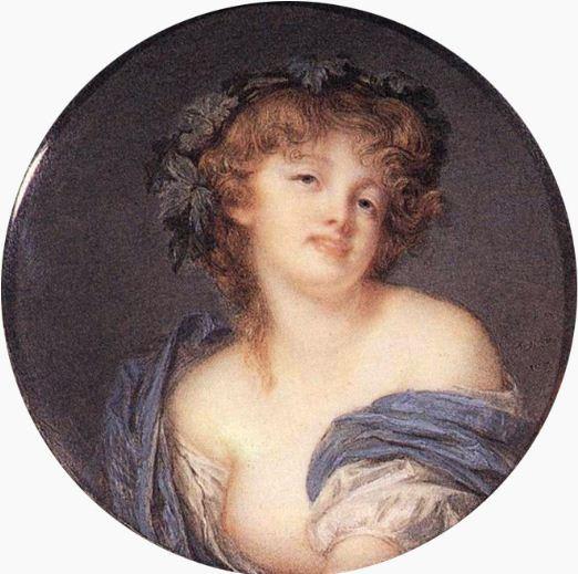 """Жак Августин """" Вакханка"""" - миниатюрный портрет ( 1799 год). Кость, акварель, гуашь. Размер 8 см ( круг)."""