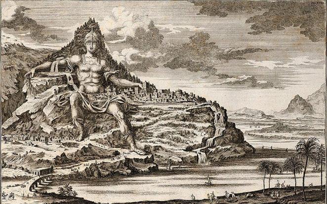 Гравюра эпохи Нового времени, иллюстрирующая замысле Дейнократа относительно устройства гигантской статуи на основе горы Афон.