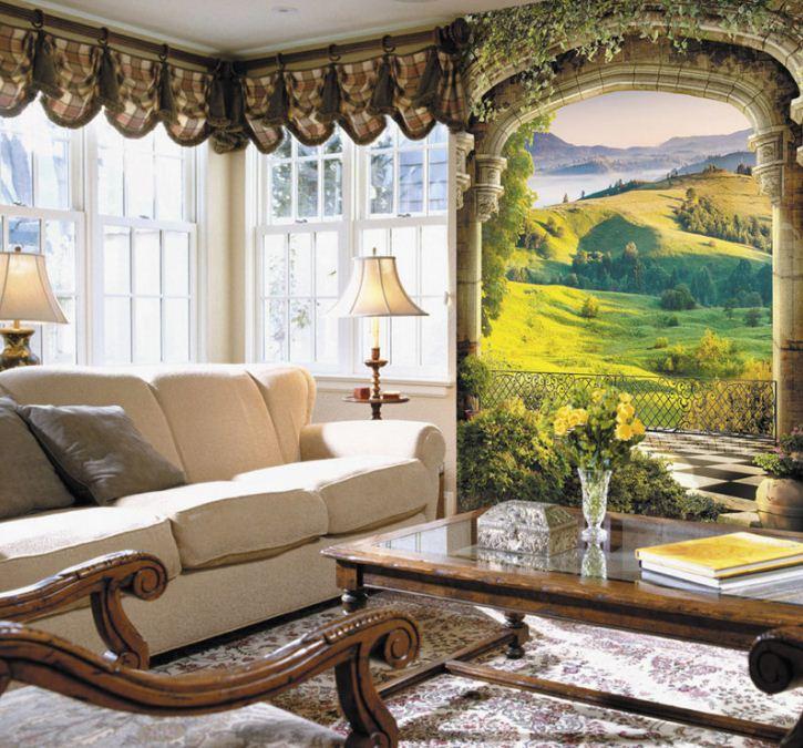 Фреска с изображением пейзажа в обрамлении арки зрительно расширит пространство.