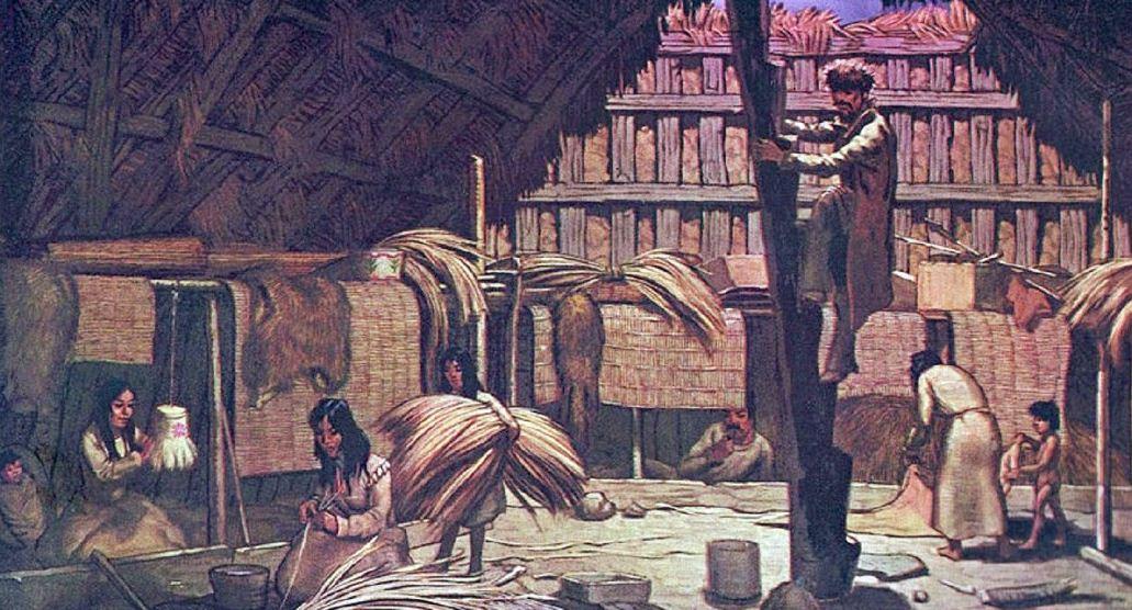Барабора - традиционное зимнее жилье алеутов.