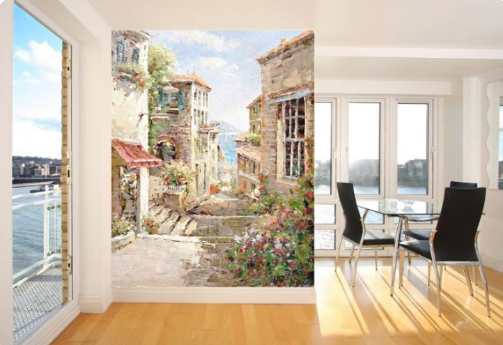 С помощью картин - фресок можно разграничить функциональные зоны в помещении.