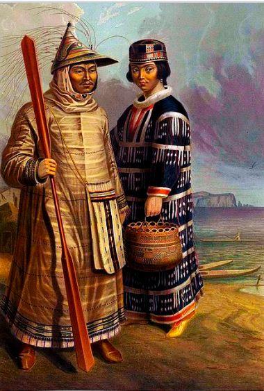 Алеуты в традиционной одежде ( 1862 год).