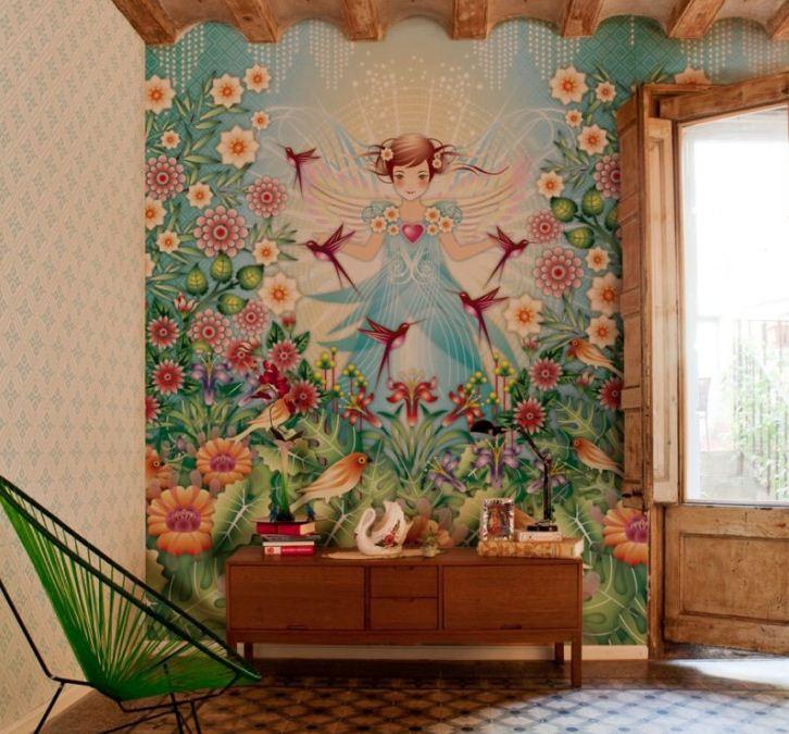 Отделка фресками подходит как для просторных залов, так и для маленьких квартир