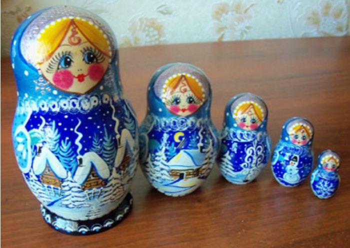 """Комплект матрешек """" Зимушка - зима""""."""
