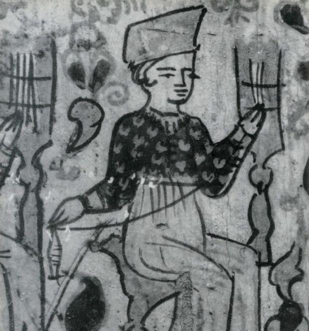 Расписная пермогорская прялка ( середина XIX века).