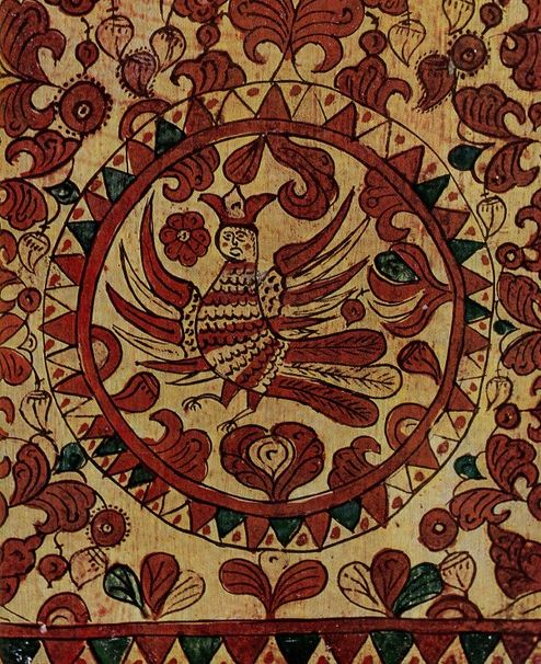 Прялка с росписью А. Мишарина ( конец XIX века, Северная Двина, Пермогорье)