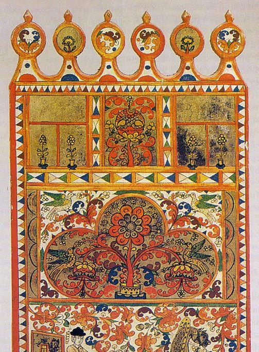 Нижнетоемская роспись ручной прялки ( XIX век)