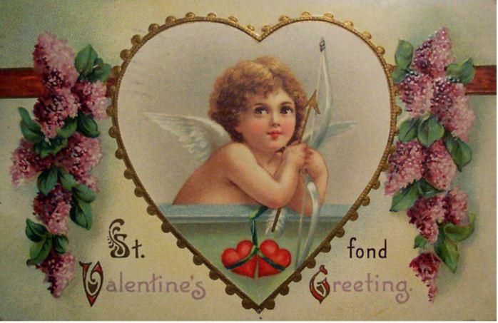 Старинная открытка на День Святого Валентина