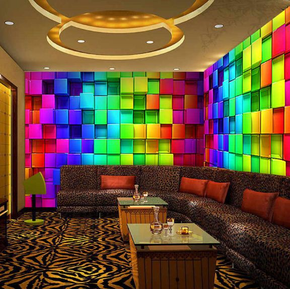 В отделке стен использованы красочные 3D фотообои