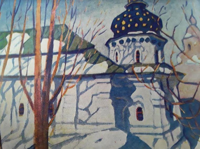 Рядом с Троицкой надвратной - церковь Николая Больничного - камерное сооружение с одним куполом, украшенным золотыми звездами.
