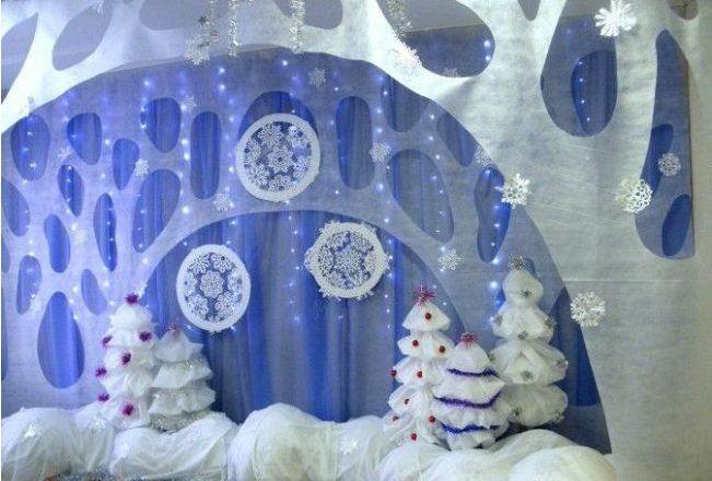 Оформление музыкального зала к новогоднему празднику.