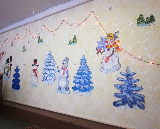 Декорирование стен фигурками снеговиков и елочек.