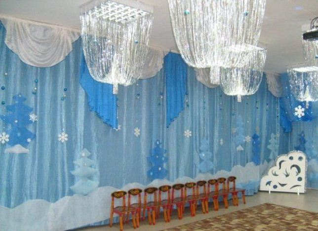Потолочные светильники украшены сверкающим дождиком.