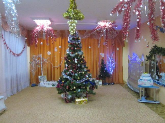 Празднично украшенная елка в центре зала
