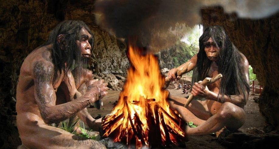 Костер в пещере первобытных людей.