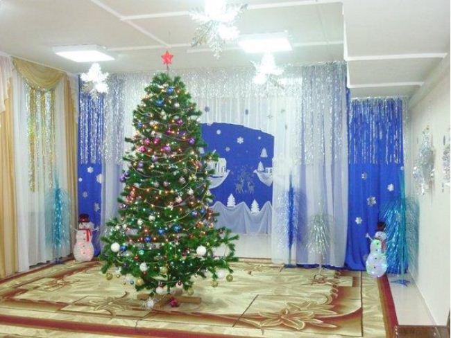 Новогодняя елка - главный элемент украшения зала