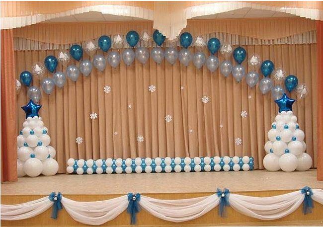 Украшение центральной стены воздушными шарами