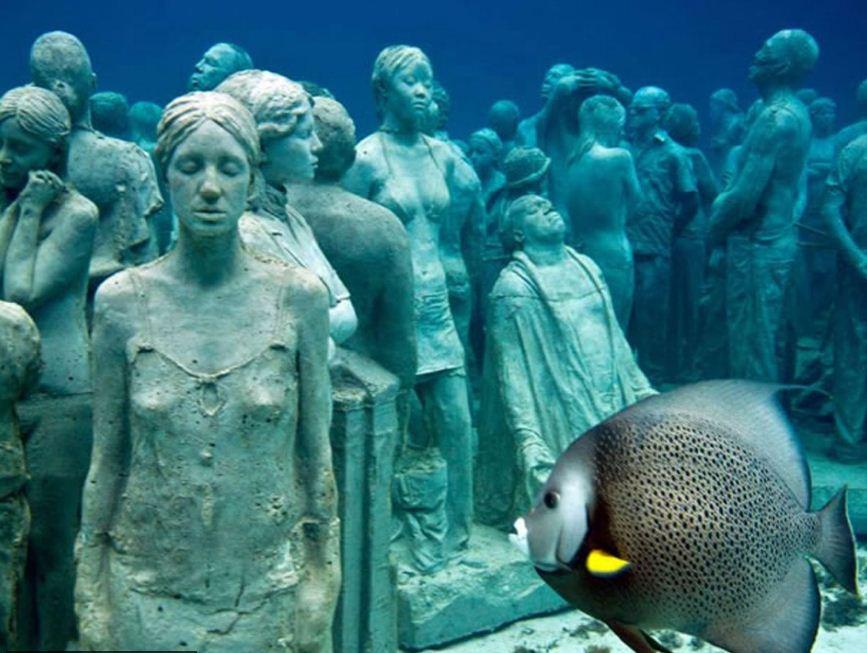 Постоянными посетителями парка подводных статуй являются морские обитатели.
