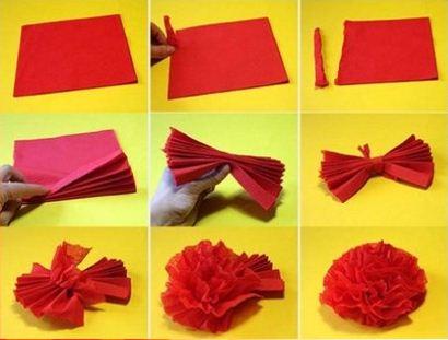 Изготовление цветов гвоздики из красных салфеток.