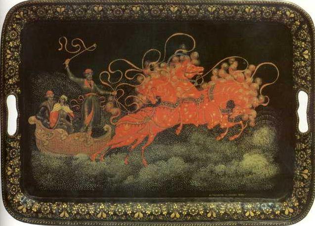 """И. И. Голиков. """" Тройка"""" ( поднос, 1926 год. Государственный музей палехского искусства)."""